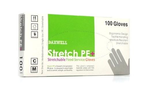 Stretch Poly Powder-Free Gloves, Medium, Clear, 100/Box
