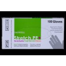 Stretch Poly Powder-Free Gloves, Large, Clear, 100/Box